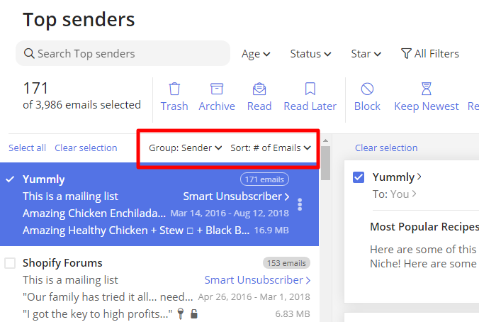 You can see your 'Top Senders' grouped and ordered by 'Time' and easily delete emails from years ago.