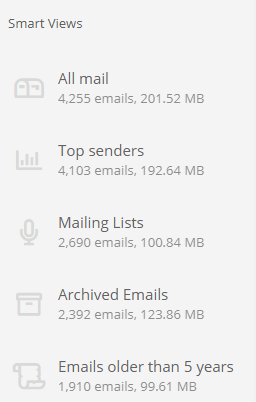 Instead of presenting your mailbox as folders or labels we find emails matching views.