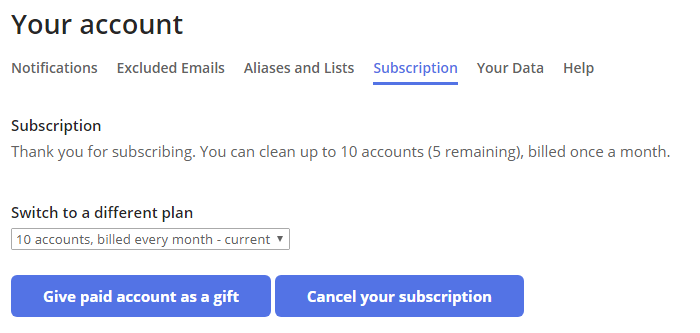 The Subscription tab will show details about your current subscription type