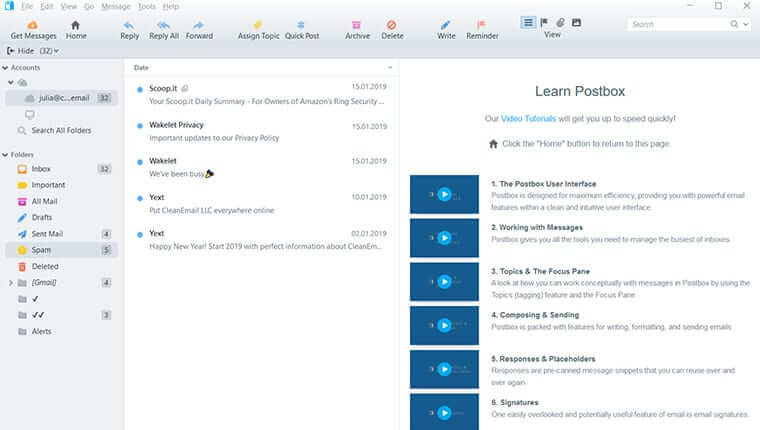Postbox email client for Mac and Windows