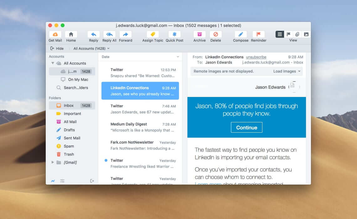 Postbox email client for Mac and PC