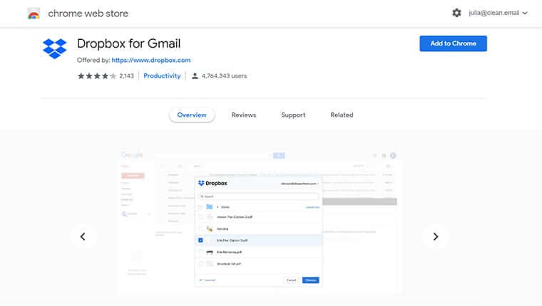 Dropbox best Gmail add-on for business
