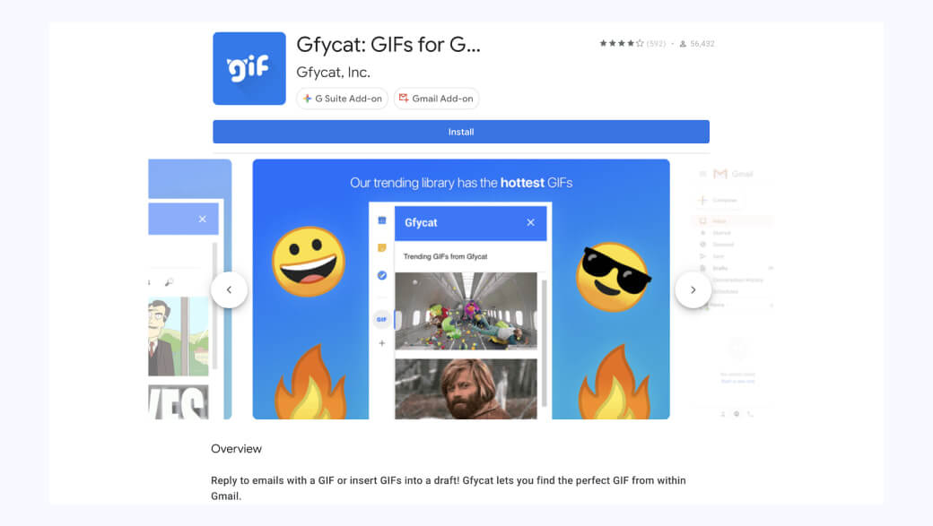 Gfycat for Gmail for creating GIFs files