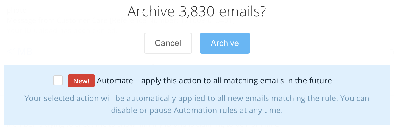 Automatically apply actions to all new emails matching the rule