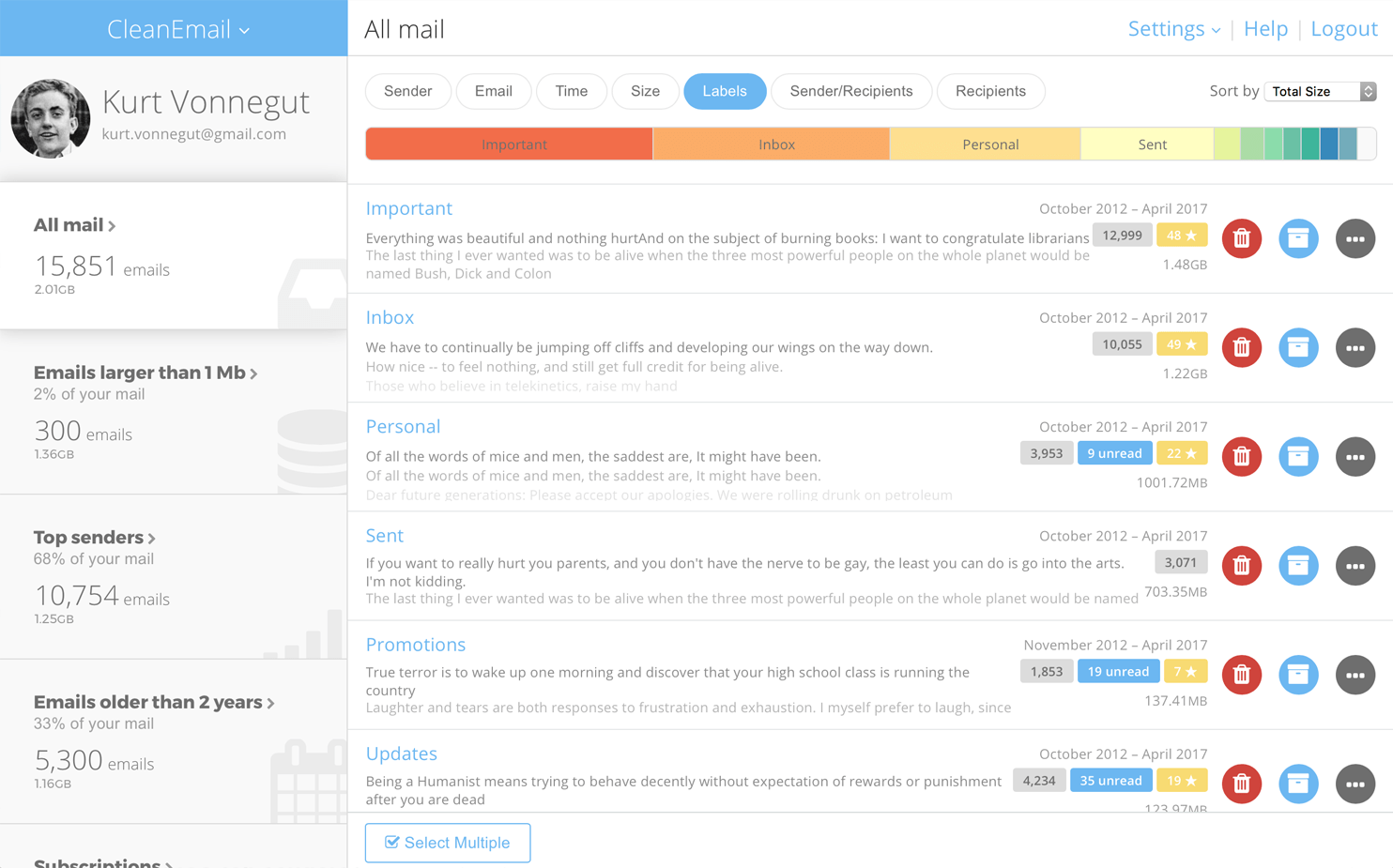 Clean Email organizes mailbox into smart views using rules and filters to simplify email management