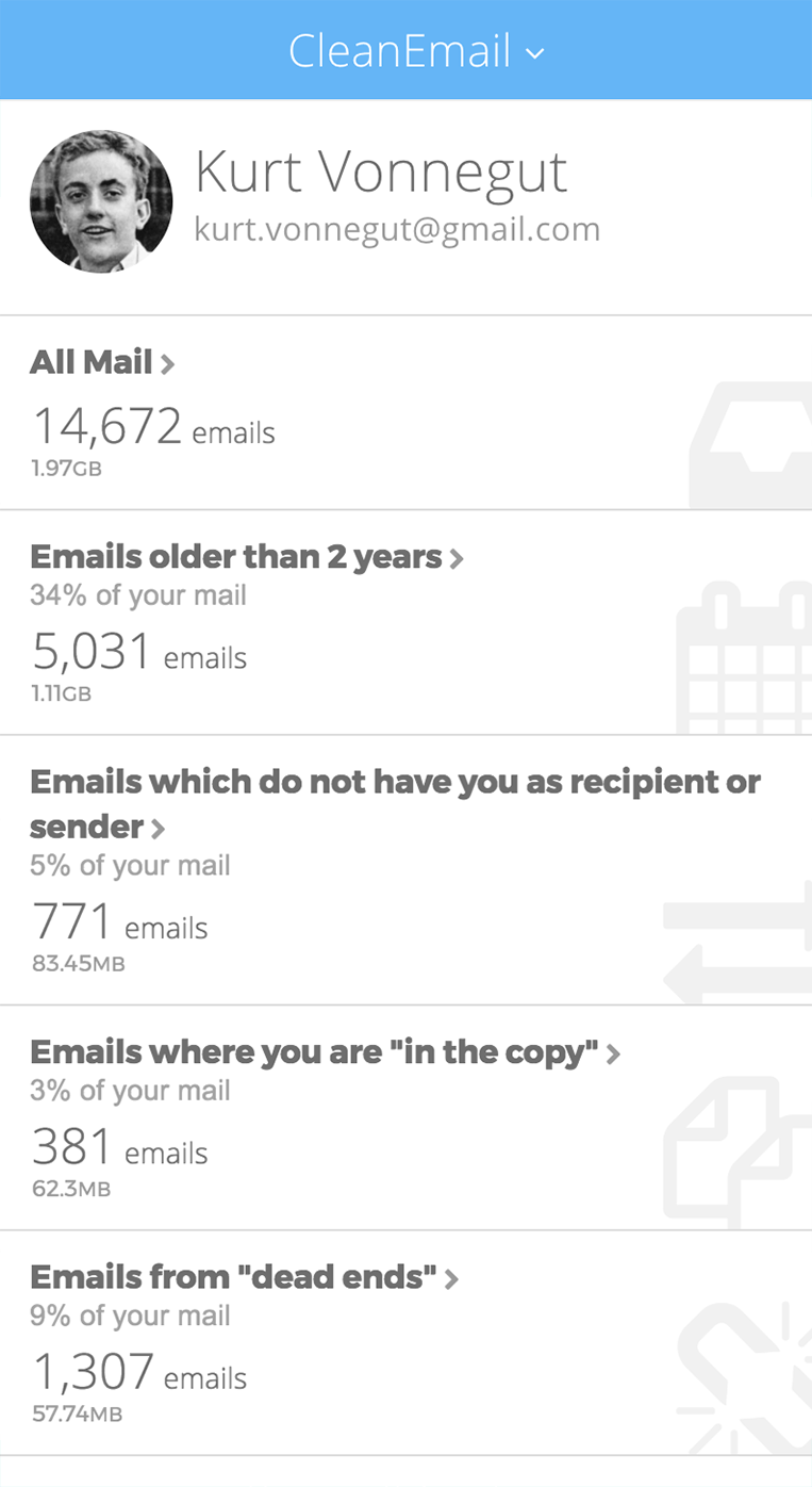 Clean Email segments your mailbox into relevant groups, allowing to quickly clean up useless emails